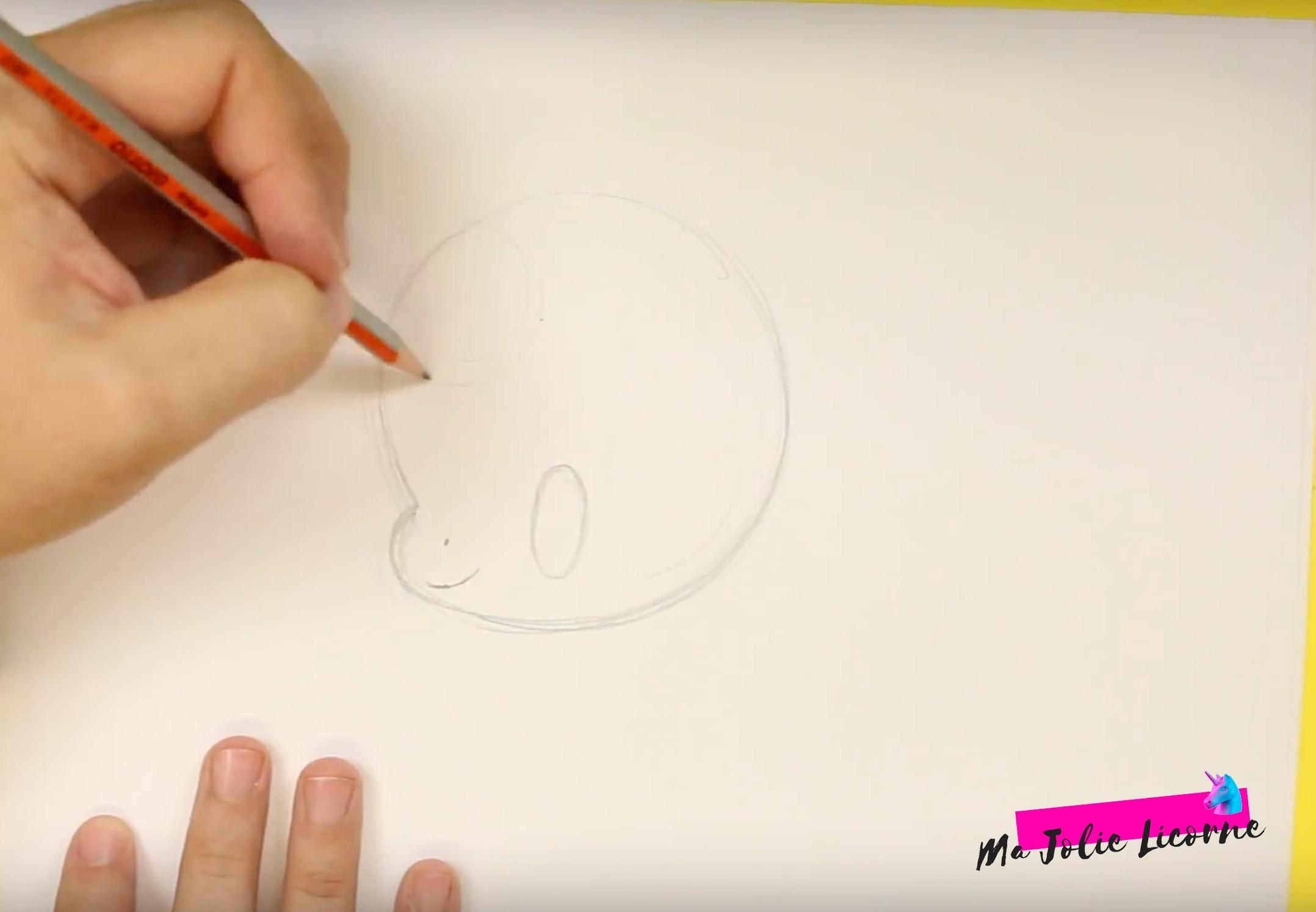 Tête de licorne dessin facile - Dessin kawaii licorne
