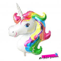 ballon gonflable tete de licorne multicolore