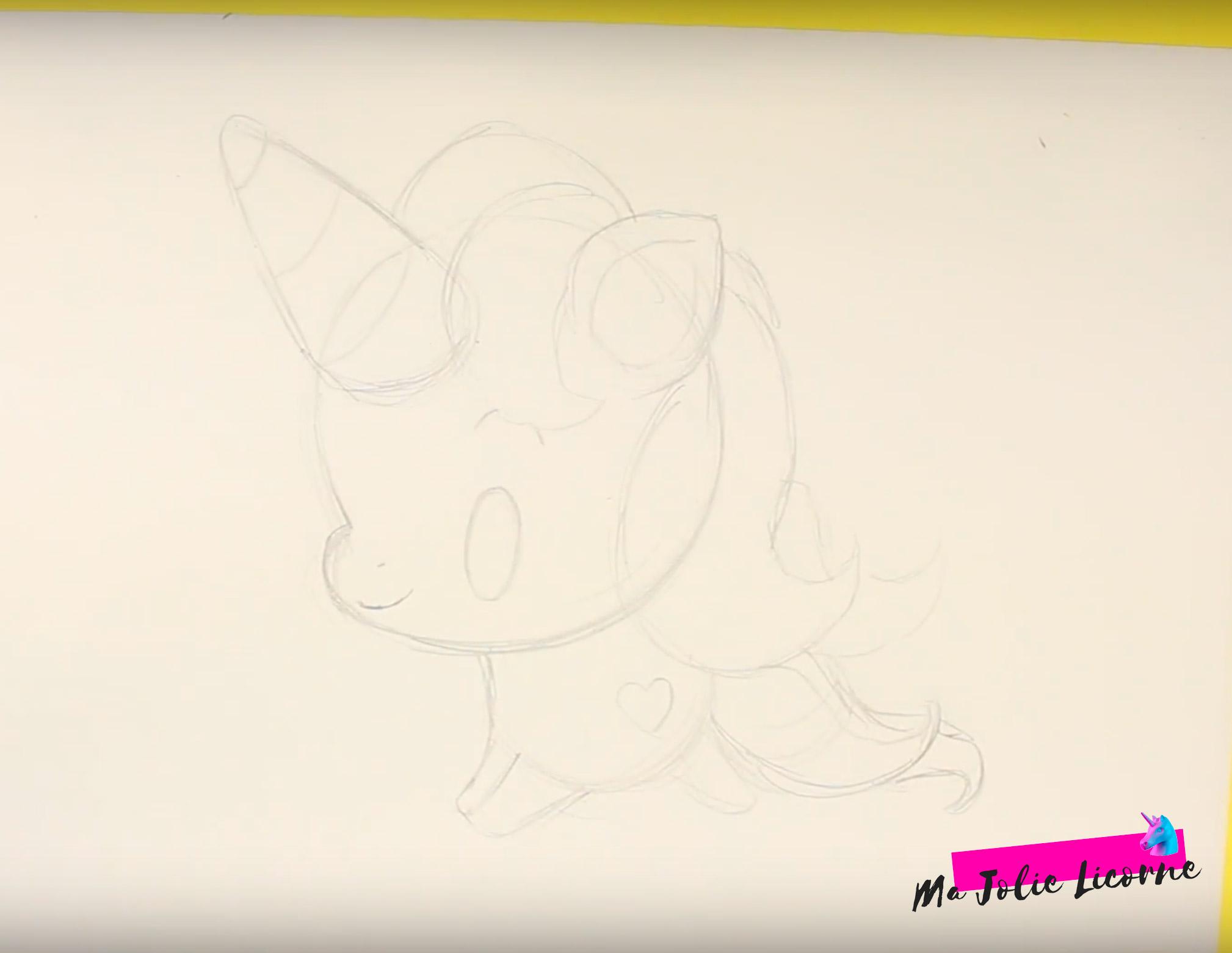 corne de licorne dessin - Dessin kawaii licorne