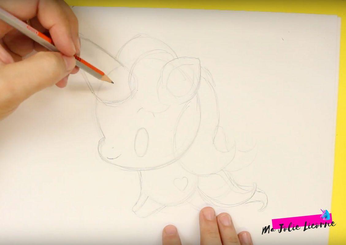 dessiner cheveux licorne - Dessin kawaii licorne