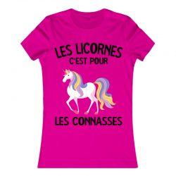 Les Licornes c'est pour les connasses | T Shirt rose |Ma Jolie Licorne