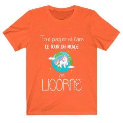 Tout plaquer et faire le tour du monde en licorne | T Shirt noir |Ma Jolie Licorne