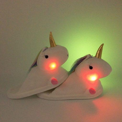 chaussons licorne lumineux blancs | Ma Jolie Licorne