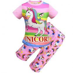 Pyjama motif licorne fille rose clair