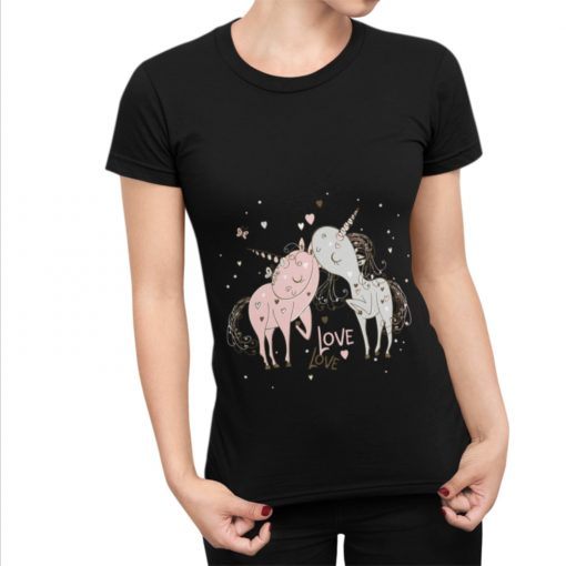 T-Shirt Femme j'aime les licornes et leurs jolies cornes