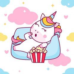 je suis une licorne qui aime manger du pop-corn