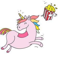 je suis une licorne qui mange du pop-corn