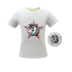 T-Shirt Licorne Fille Paillettes Blanc